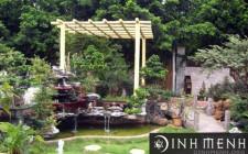 Cách bố trí nguồn nước, ngọn giả sơn trong sân vườn